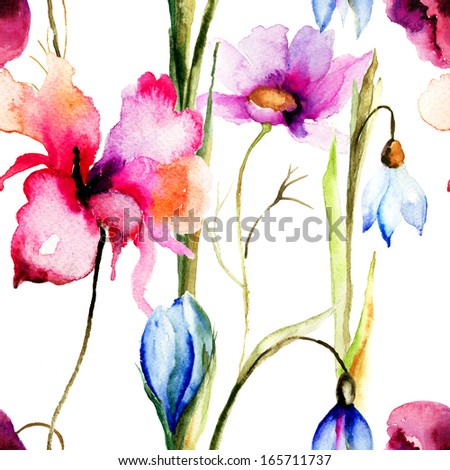 Colorful summer seamless pattern, watercolor illustration  - stock photo