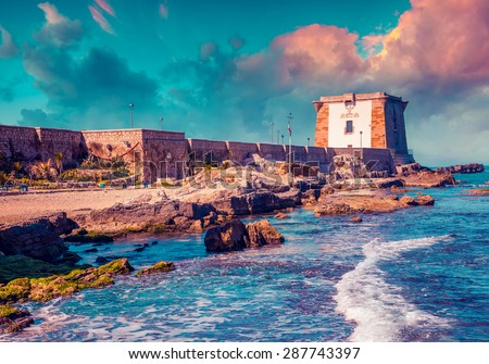 Colorful summer sunrise in the port of town Trapany. Sicily, Italy, Mediterranean sea, Europe. Instagram toning. - stock photo