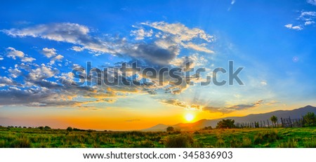 Colorful summer sunset. - stock photo