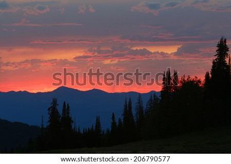 Colorful summer sunset in the Wasatch Mountains, Utah, USA. - stock photo