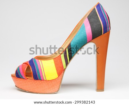 colorful summer women shoe isolated - stock photo