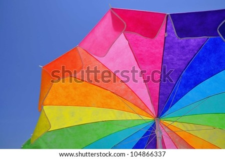colorful sun umbrella - stock photo