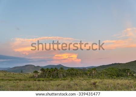 Colorful sunset at El Pauji community in Bolivar state, Venezuela - stock photo