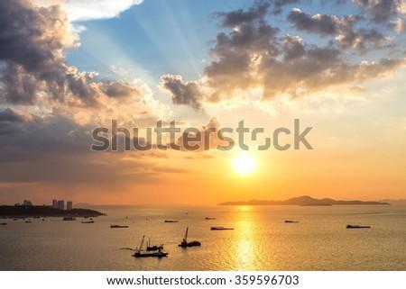 Colorful sunset at Pattaya bay ,Chonburi, Thailand from above.  - stock photo