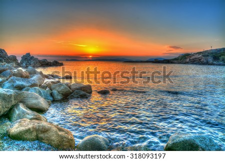 colorful sunset in Alghero, Sardinia - stock photo