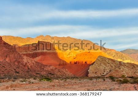 Colorful sunset in the Quebrada de las Conchas near Cafayate, Salta Province, Argentina - stock photo