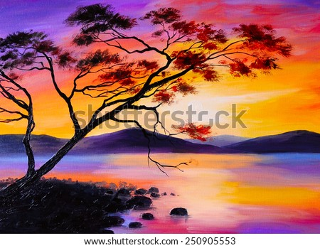 colorful sunset on the lake, oil painting, art watercolor - stock photo
