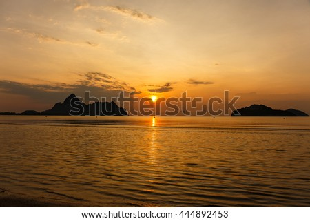 Colorful sunset over sea. - stock photo