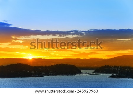 Colorful sunset over the Oslo Fjord. Europe. Norway. - stock photo