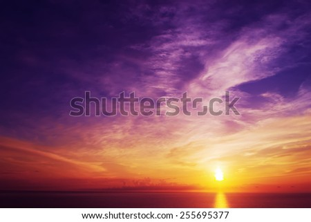 colorful sunset over the sea in Alghero, Italy - stock photo