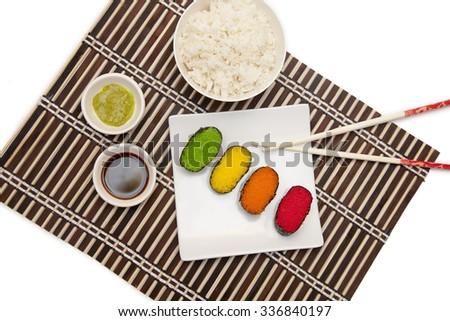 Colorful sushi. Japanese cuisine - stock photo