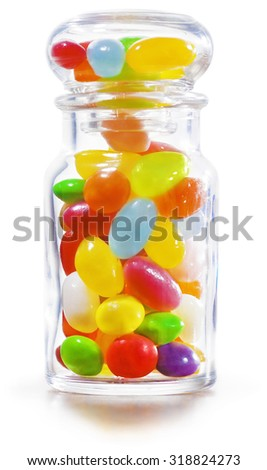 Colorful sweet Jelly Beans in the Jar. Isolated on white background. - stock photo