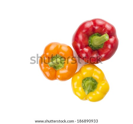 colorful sweet peppers on white background, top view  - stock photo