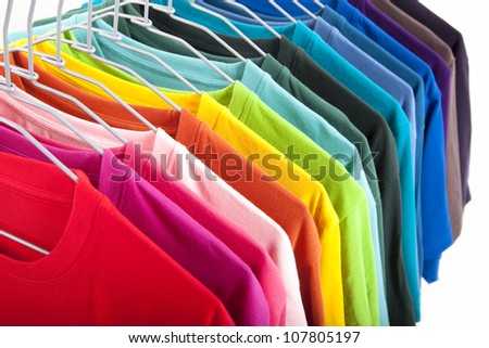 colorful t-shirt isolated on white background - stock photo