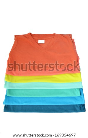 Colorful t-shirt on white background - stock photo