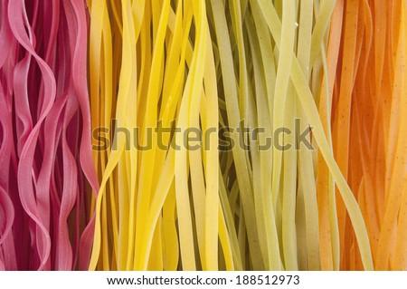 Colorful tagliatelle texture background  - stock photo