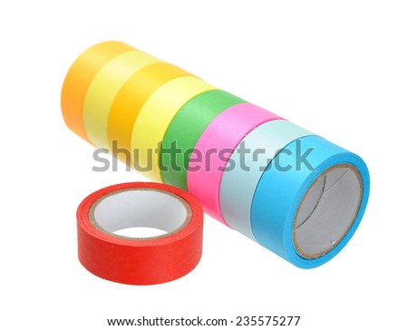 colorful tape rolls isolated on white background  - stock photo