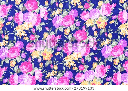 Colorful tapestry flowers fabric pattern background - stock photo