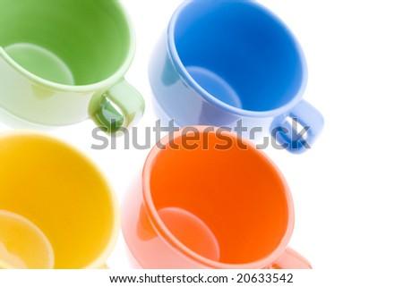 Colorful Tea Mugs - stock photo