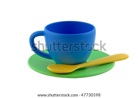 Colorful tea-set toy - stock photo