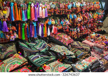 Colorful thai style fabric in the market, Thailand - stock photo