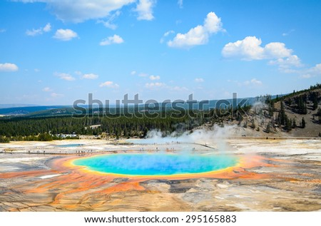 Colorful Thermal Feature at Yellow Stone National Park - stock photo