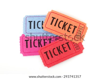 Colorful ticket on white background? - stock photo
