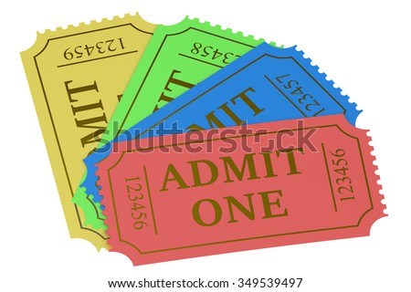 Colorful tickets isolated on white background - stock photo