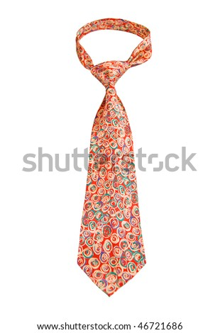 Colorful Tie with geometrical pattern isolated on white - stock photo