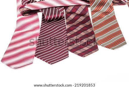 colorful ties on white - stock photo