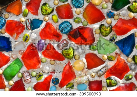 colorful tiled wall background - stock photo