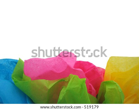 Colorful tissue paper with room for text on white background. - stock photo