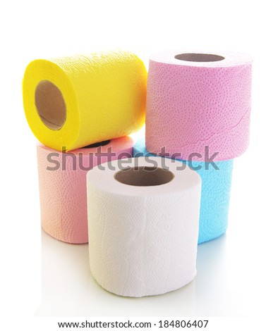 Colorful toilet paper rolls isolated on white - stock photo