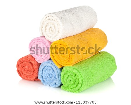 Colorful towels. Isolated on white background - stock photo