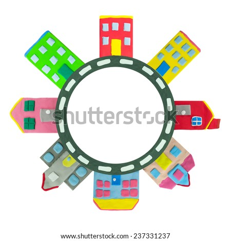 colorful Town building and house on circle road made from plasticine - stock photo