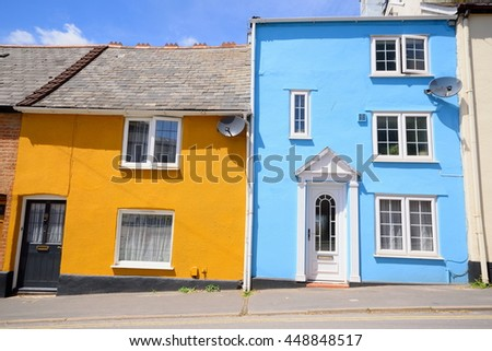 Colorful townhouses in Exeter, Devon - stock photo