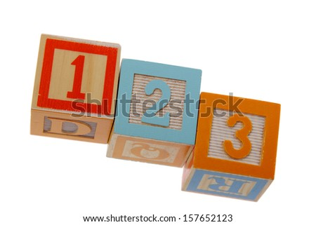 Colorful toy blocks with numbers of children to study mathematics - stock photo