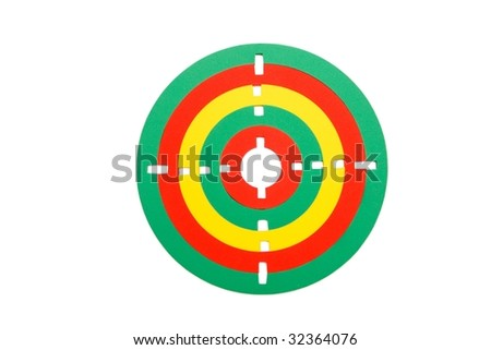 Colorful toy target made of rubber rings isolated - stock photo
