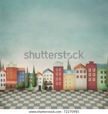 Colorful  toy  town. - stock photo