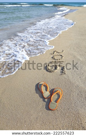 Colorful toys for sandboxes against the sea and the beach. - stock photo