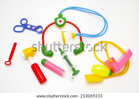 colorful toys medical equipment tool set for kids - stock photo