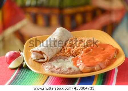 Colorful Traditional Mexican food dishes chicken and burrito - stock photo