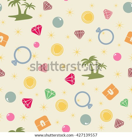 Colorful treasure island  seamless pattern, pirate theme. Colored endless background with treasure chest, island, palms, pearl, diamond and coins. Bright and vivid palette for kids and fans. - stock photo