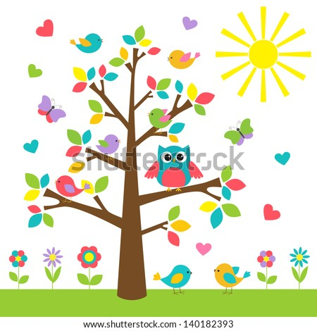 Colorful tree with cute owl and birds.  Raster version - stock photo
