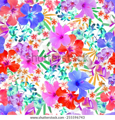 colorful tropical flowers seamless print - stock photo