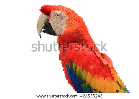 colorful tropical parrot macaw head of visual identity in low polygon style on a white background, a realistic macaw parrot illustration - stock photo