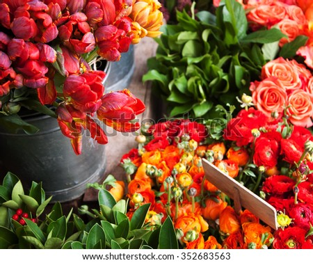 Colorful tulips and buttercups flowers with wooden price tag. Selective focus. - stock photo