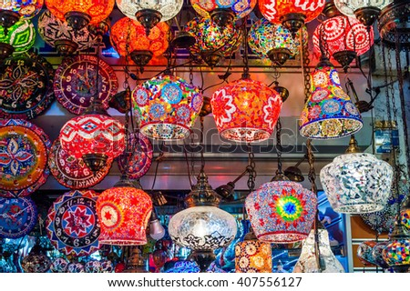 Colorful Turkish lanterns in the Grand Bazaar of Istanbul, Turkey - stock photo