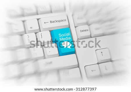 Colorful turquoise blue Social Media key and icon on a white computer keyboard conceptual of a networking community of contacts on the internet with selective focus. 3d Rendering. - stock photo