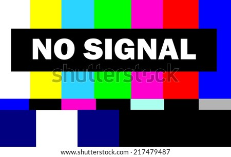 colorful tv test pattern with no signal message - stock photo